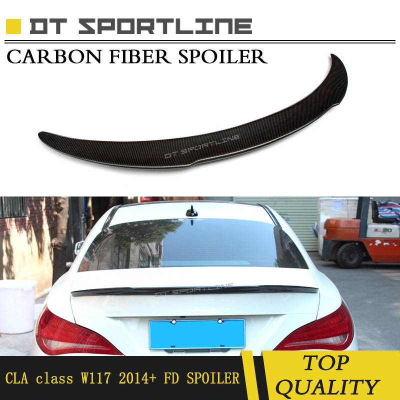 Real Carbon Fiber for Mercedes CLA Class W117 FD Style Rear Truck Spoiler for CLA 200 Carbon Fiber Wing Fit for Year 2014 2015
