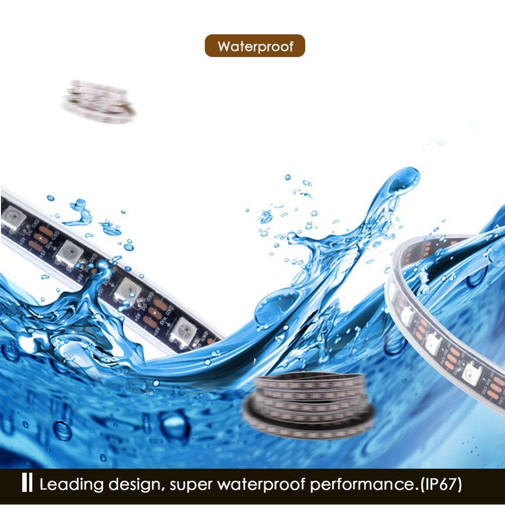 WS2812B LED Strip DC 5V Black White PCB Smart Addressable Pixel WS2812 IC 30 60 144 WS2812B LED Strip DC 5V Black White PCB Smart Addressable Pixel WS2812 IC 30/60/144 LEDs 17Key Bar RGB 50CM 1M 2M 3M 4M 5M