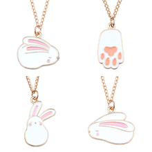 New Creative DIY Cute Colorful Animal Pendant Kawaii Rabbit Necklace Pendant Gold Chain Pet Paw Girl Child Gift Necklace Woman creative diy fashion plant pendant cartoon cactus necklace gold chain coconut necklace pendant female girl new year gift jewelry