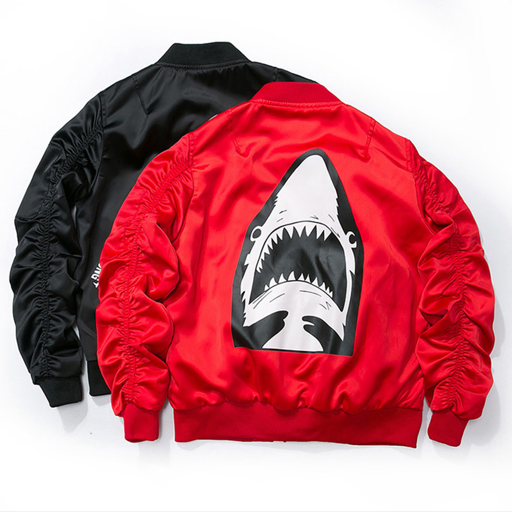 Street fashion O-Neck Solid Printing Horror shark Men`s <font><b>Bomber</b></font> Jacket Ma1 New Streamers Flight Jacket <font><b>Black</b></font> Red