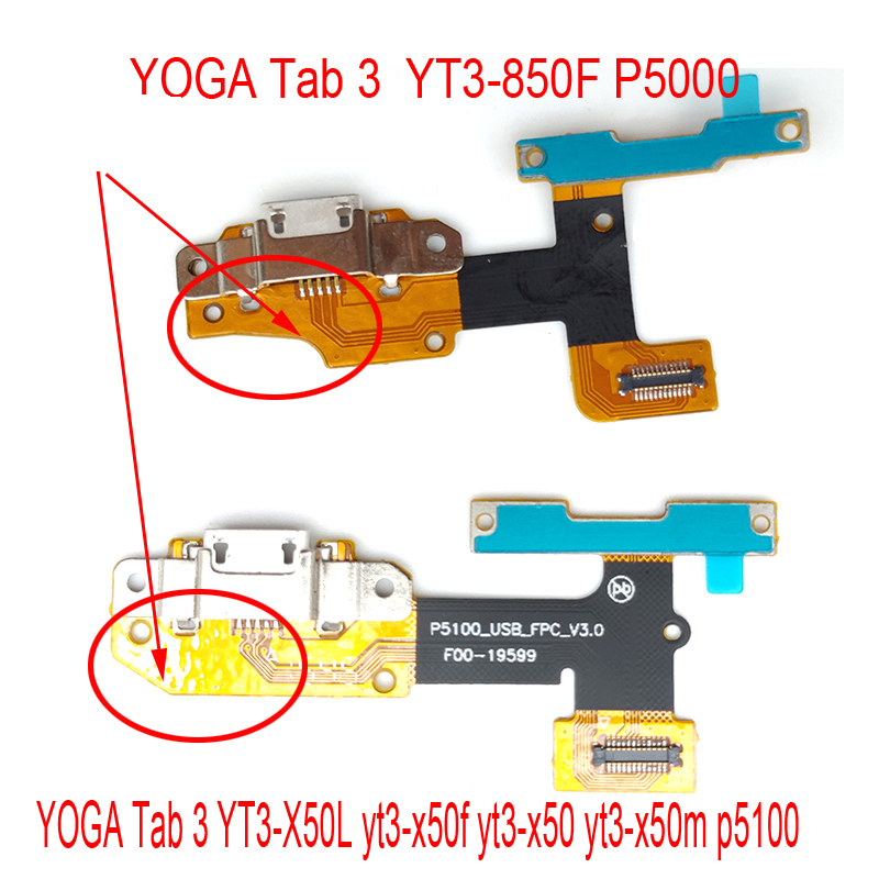 USB Charging Port Dock Connector Plug Flex For Lenovo YOGA Tab 3 YT3-X50f YT3-X50 YT3-X50m P5100 _FPC_V3.0 YT3-850F P5000