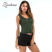 4a65dbe8039 Zicotour 2019 Brand Tank Top Ladies Summer Sleeveless Ruffle Vest Knitted Crochet  Tops Tees Sexy Fashion