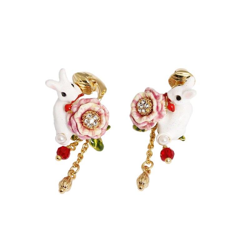 Lapin Lapin A Rose En Bouche Romantique Conception Boucles D'oreilles Mode Bijoux Sieraden Joyas Charme Bijoux Boucle D Oreille Boucles D'oreilles