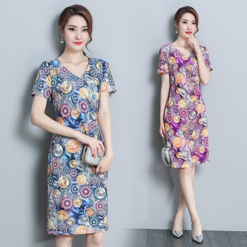 4XL imprimer mousseline de soie robe femmes 2019 nouvelles robes d'été à manches courtes v-cou femmes moulante robe grande taille tenue décontractée adolescente