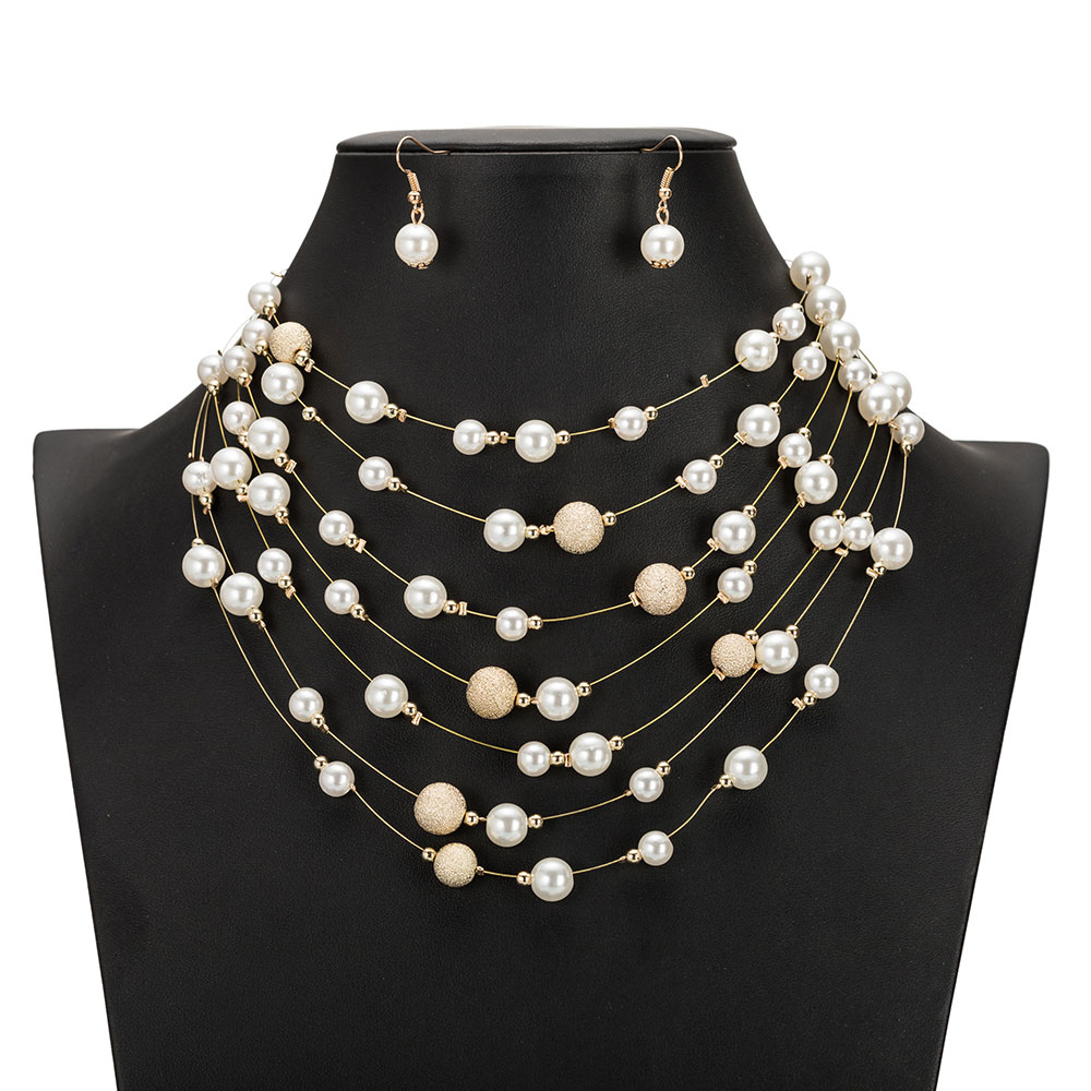 KMVEXO <font><b>2019</b></font> New Fashion Gold Multi Layer Chains Imitation Pearl <font><b>Jewelry</b></font> <font><b>Sets</b></font> <font><b>For</b></font> Women Party Wedding Bride Necklace Earrings <font><b>Set</b></font> image
