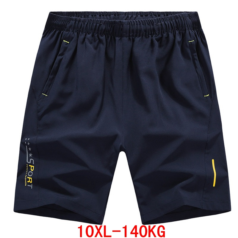 Large size 7XL 8XL 9XL 10XL men's big   shorts   summer casual large elastic sports loose black blue   shorts