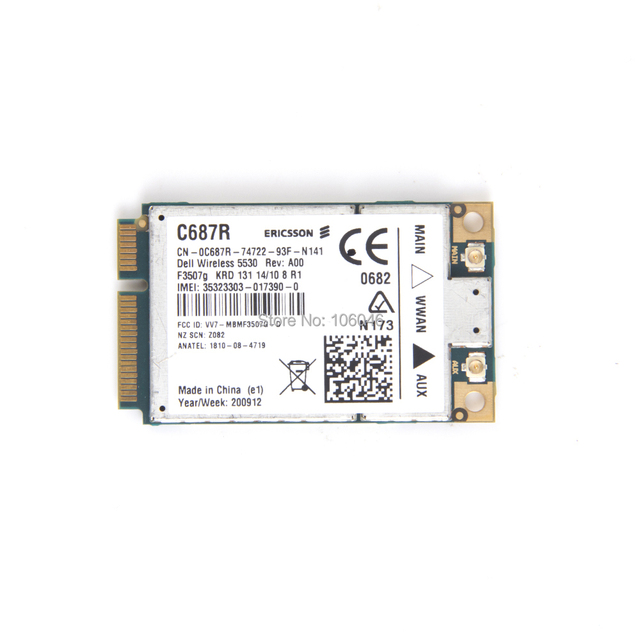Nova marca adaptador ericsson f3507g 3g wwan hsdpa + módulo gps para dell wireless 5530 wwan mini pci-e card