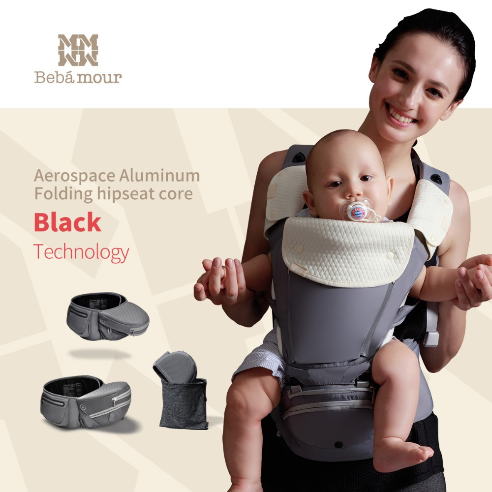 Bebamour Baby Carrier Foldable Aluminum Baby Wrap Ergonomic Baby Sling Multifunctional Baby Hipseat for Newborn