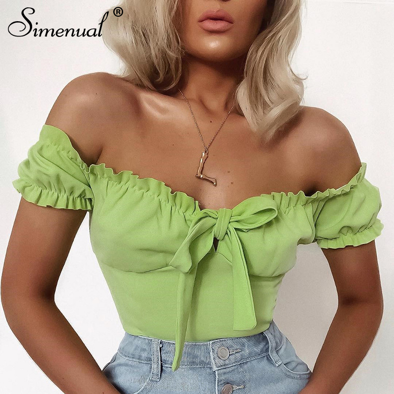 Simenual Sexy Hot Bodycon Jumpsuit Women Off Shoulder Ruched Solid Overalls Ruffles Bandage Casual Fashion Bodysuits Summer 2019
