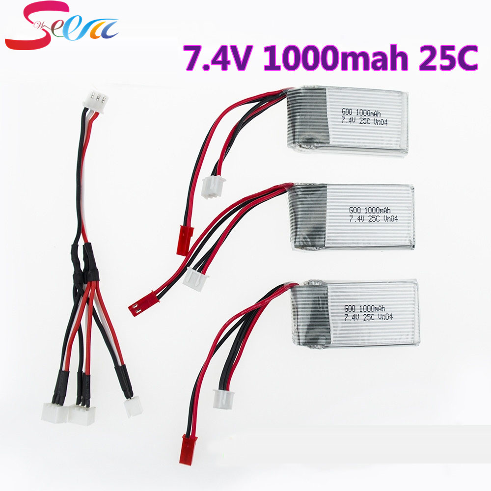 1to3 split cable 2016 Hot Sale 7.4V 1000mAh 25C WLtoys V912 V915 Upgraded Battery For RC Multicopter Wholesale 1pc 7 4v 1000mah li po battery for wltoys v262 v333 v353 v912 v915 ft007 devo4 mjx x600 rc helicopter hot sale