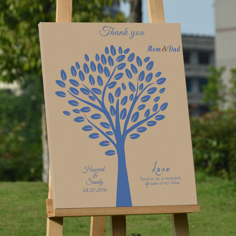 customized wedding leaf tree guest book creative canvas wood frame guest book alternatives signature book for