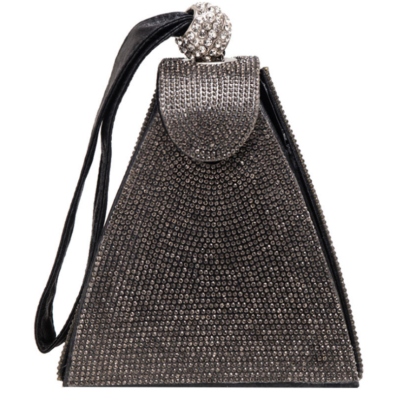 Wedding Wallet Tote Pyramid Evening-Clutch Crystal Diamond Gray Bridal Party Vintage