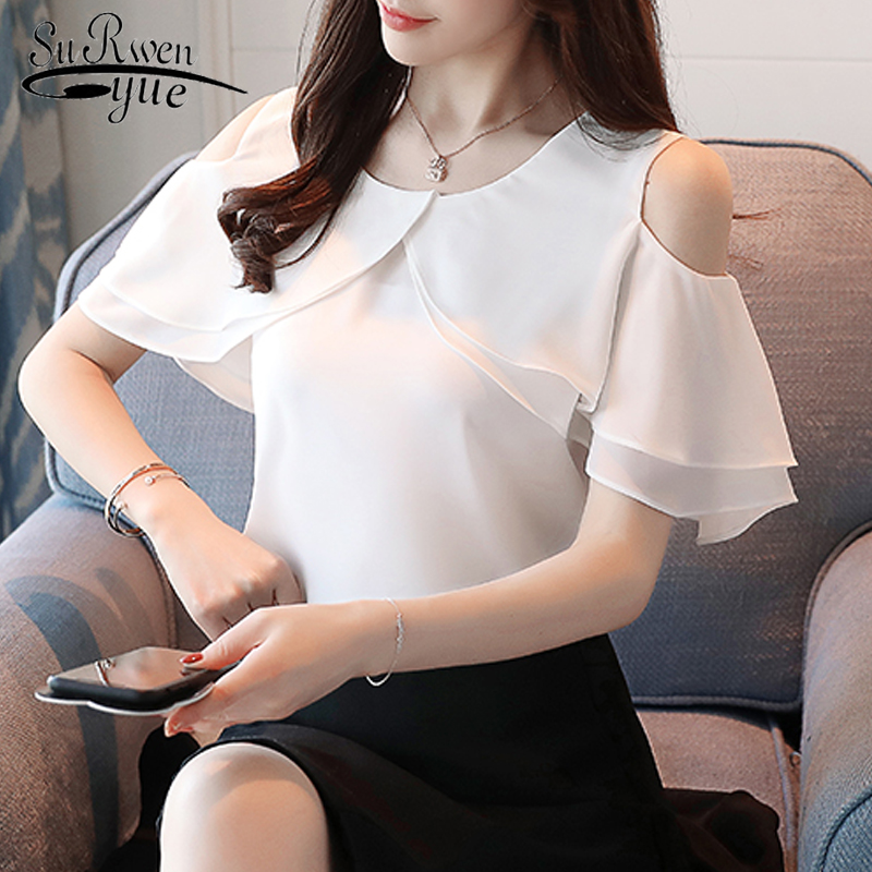 New 2019 Summer Fashion Casual Chiffon Women   Blouses     Shirts   Tender Solid Simple White Elegant Female Clothing Blusas 0004 30
