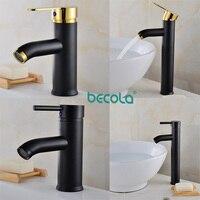 BECOLA 4 Size Bathroom black faucet Stainless steel 304 washbasin basin mixer Black+golden tap basin sink water tap black mixer