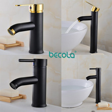 BECOLA 4 Size Bathroom black faucet Stainless steel 304 washbasin basin mixer Black+golden tap sink water