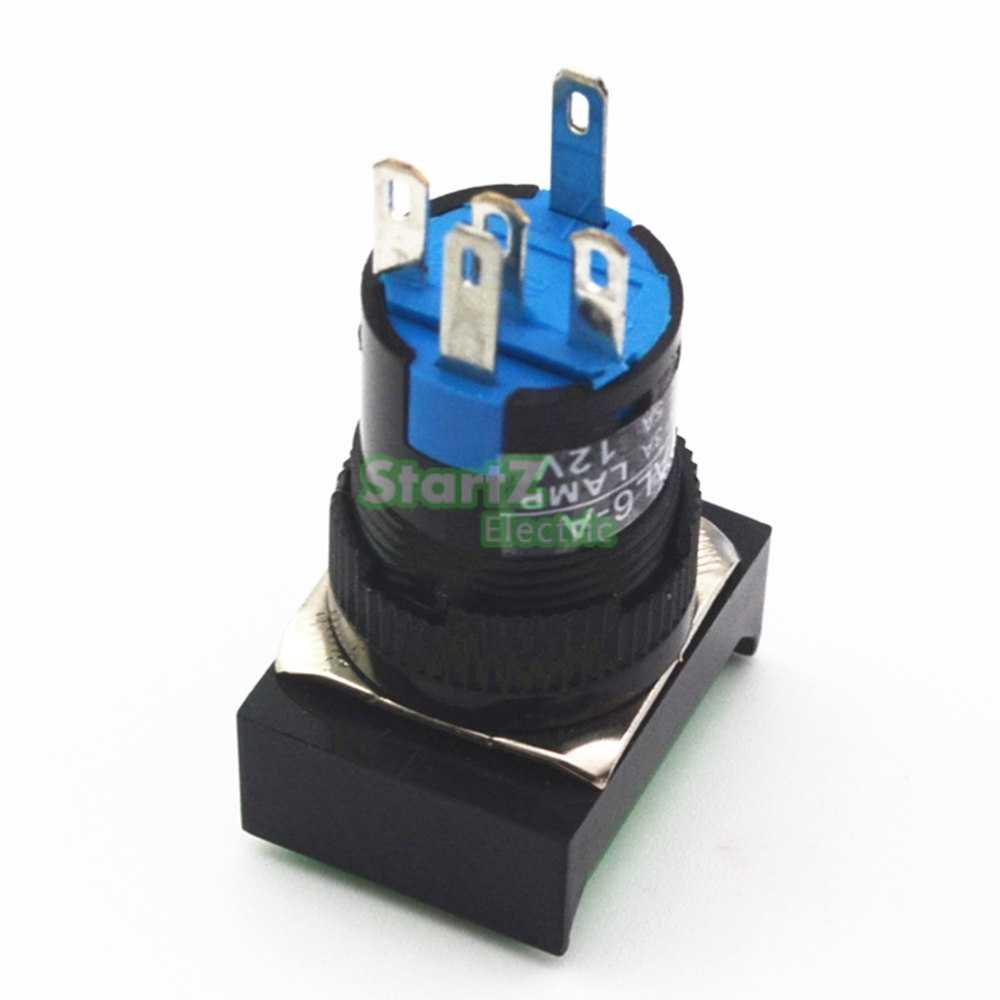 DC 12V 16mm bouton poussoir auto-verrouillage momentané/verrouillage interrupteur Rectangle lumière LED DC24V AC110V AC220V
