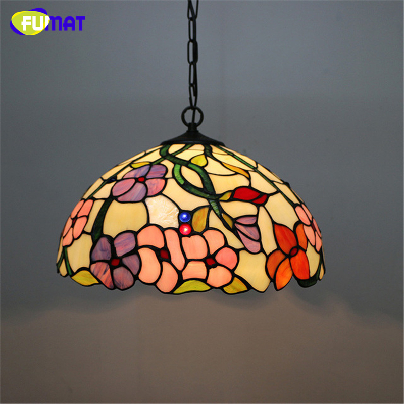 FUMAT Stained Glass Pendant Light Creative Glass Shade Pendant Lamp Living Room Hotel Bar Suspension Light Fixtures  DIA40CM fumat stained glass pendant lamps european style baroque lights for living room bedroom creative art shade led pendant lamp