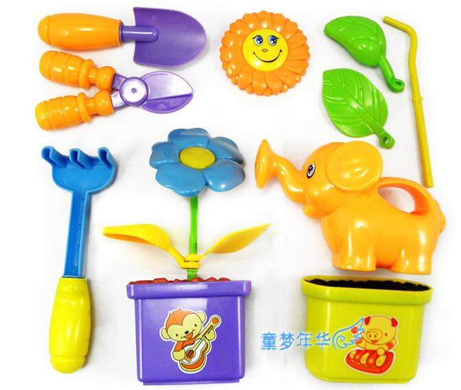 Baby garden game toys garden tools kits set toy flower pot for Gardening tools 94 game