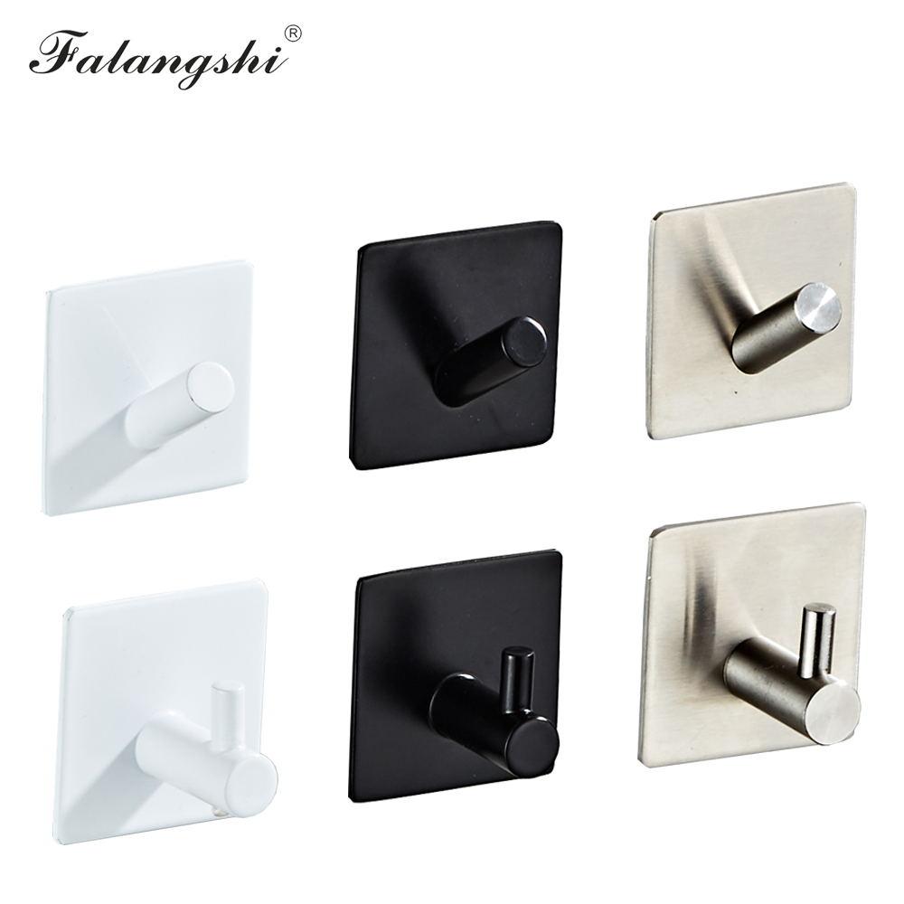 Bathroom Accessories Wall Hooks Stainless Steel 3M Sticker Adhesive Clothes Coat Hat Hanger Bathroom Rustproof Towel Hook WB8102