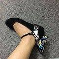 Последней Черной Замши Плоские Туфли Женщины Бабочка Острым Носом Балетки Сексуальная Женщина Повседневная Обувь