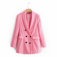 2019 Women Pink Za Chic Blazer New Arrival Sweet Girl Spring Autumn Fashion Double Breasted Long Sleeve Pink Blazers mujer