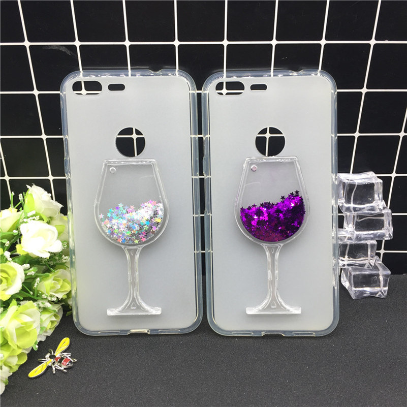 New Thick Dynamic Liquid Phone Cases For Google Pixel XL Heart Glitter Sequins Soft Silicon Back Cover Sand Cup
