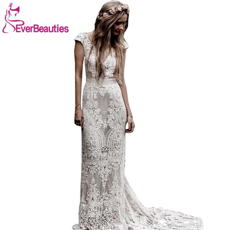Robe De Mariage Wedding Dresses Boho 2019 Lace Chic Bohemian Wedding Dress Bridal Gowns Vestidos De Novia-in Wedding Dresses from Weddings & Events