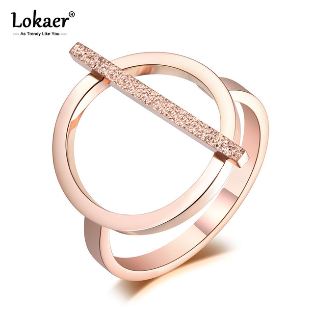 Lokaer OL Design Fashion Stainless Steel Ring Rose Gold Geometric Engagement Wedding Rings For Women Girls Jewelry Anillo R19008