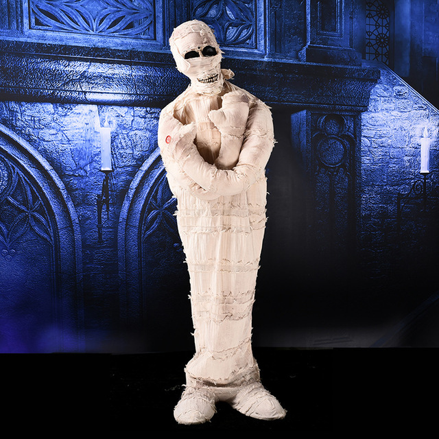 Halloween Horror Props White Mummy Ghost Deaths Skull Ghost Horrible Party Supplies Haunted House Escape  Ornament Creepy Ghost