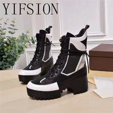 YIFSION New Genuine Leather Rome Gladiator Women Ankle Boots Round Toe Lace Up Thick Heel Warm Platform Shoes Woman