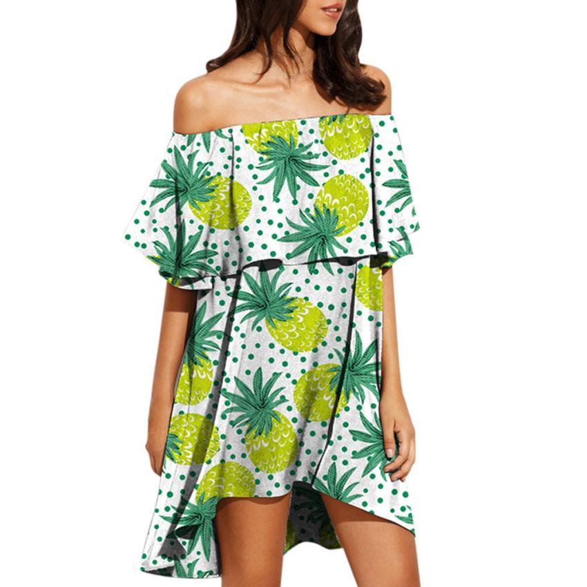 FeiTong Sexy off shoulder tropical short dress women Ruffle backless summer  dress Streetwear beach casual dress 32f18ece29aa