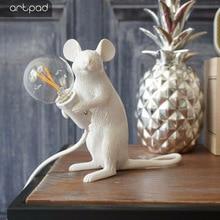 Artpad Resin Sculpture Mouse Rat Table Light E14 Bulb Holder Night Table Lamp Decoration Bedside Dedroom Livingg Room Kids Gift