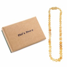 Raw Baltic Amber Teething Necklace for Baby (Unisex)(Butterscotch Raw)(13 Inches) - Natural Anti Inflammatory Beads