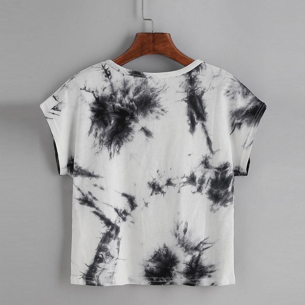 Fashion Womens Tops Plus Size Short Sleeve Summer O-Neck Printed Blouses Casual Loose Tee Shirts Crop Top
