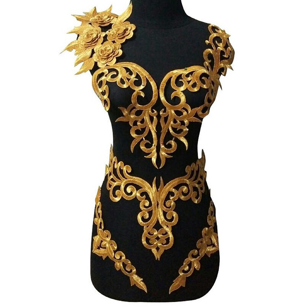 20 Pcs/Lot Iron On Appliques 3D Flower Patches Gold Embroidery Vintage Metallic Cosplay Costumes Diy Lace Trims Gold And Silver