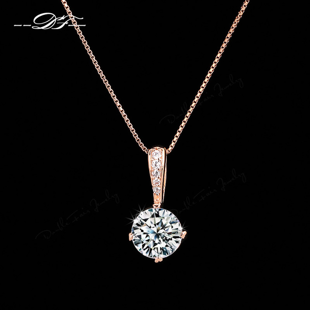 Double fair ol style cubic zirconia chain necklaces pendants rose double fair ol style cubic zirconia chain necklaces pendants rose gold color fashion crystal wedding aloadofball Gallery