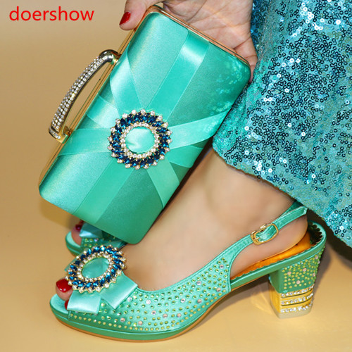 Doershow 2018 Partie Les Chaussures Femmes Bleu pourpre or Chaussure rouge Italiennes Nouveau Italie Ensemble Et Mis Hyy1 Avec Sacs 25 rose Sac teal Bluecolor Assortis En X606rqTw
