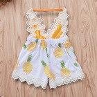 Pineapple Romper Halter Backless Newborn Onesies White Lace Baby Girl Floral Romper Sunsuit Toddler Girl Summer Romper