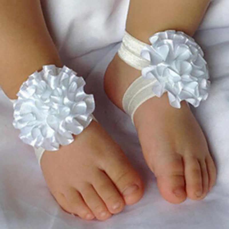 3 pcs Menina Crianças Sandálias Com Os Pés Descalços Do Bebê Recém-nascido Sapatos Headband do Cristal do Laço Da Flor Pé Banda Sólidos Presentes Bonitos da Festa de Aniversário nova
