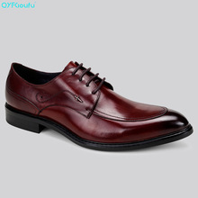 QYFCIOUFU Italian Designer Formal Mens Dress Shoes Genuine Leather Oxford Shoe Fashion Black Wine Red Pointed Toe Office