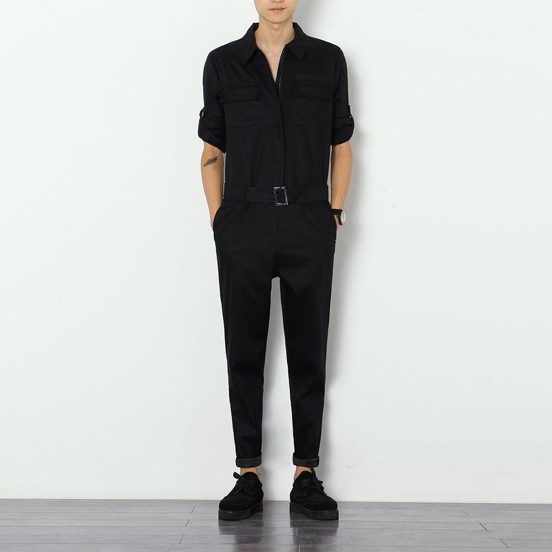 2019 Harajuku hip hop Cargo kombinezony mężczyźni Streetwear kombinezon spodnie męskie oprzyrządowanie spodnie slim Casual luźny kombinezon na