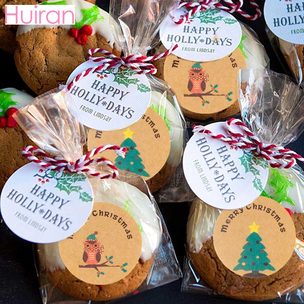 Huiran 100 Pcs Kue Natal Tas Kantong Plastik Permen Tas Pesta Ulang Tahun Dekorasi Hiasan Natal Halloween Perlengkapan Pesta