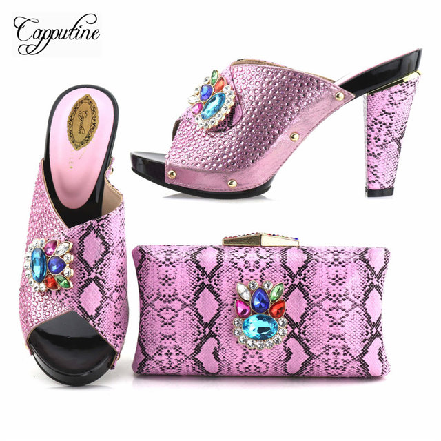 Capputine New Italian Design Rhinestone Pink Shoes With Bag Set African  Style High Heels Woman Shoes And Purse Set For Party 7c8c1c790416
