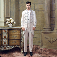 Free shipping 100 real mens medieval suit stage performance free size suitable for mens height 175