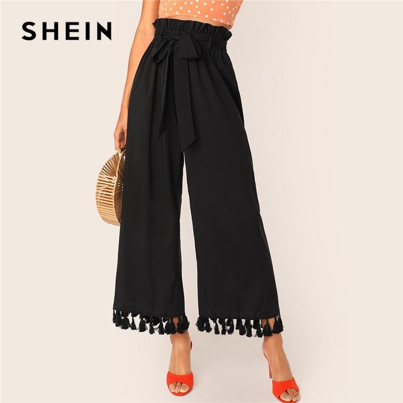 SHEIN Black Solid Paperbag Waist Self Belted Tassel Hem Pants Women 2019 Autumn High Waist Wide Leg Boho Ladies Long Trousers