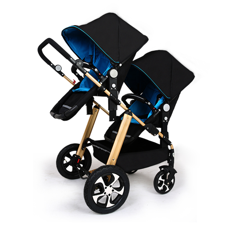 Twins baby Stroller Carton two seats Baby cart golden frame black basis Light Folding baby Carriage  Face Mum Pram mige stroller baby trolley cart folding baby carriage baby cart can be lying on the baby cart portable cart pram with 3 gift