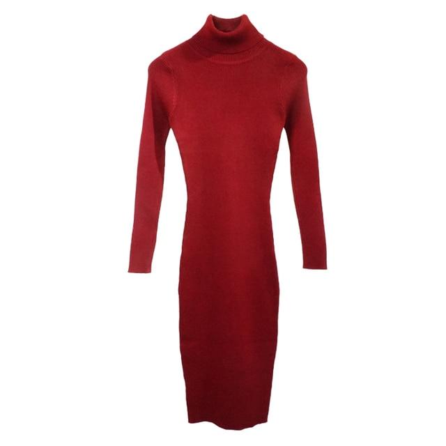 Новый осень-зима женское вязаное платье-свитер с высоким, плотно облегающим шею воротником платья леди тонкое облегающее платье с длинным рукавом, на пуговицах, для девочек платье Vestidos PP003 6