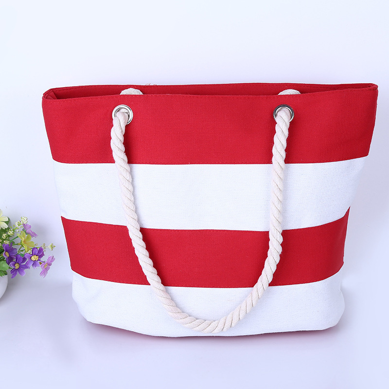 Canvas Shopping Bags Seamed Striped Large All-Match Beach Bags Totes Shopping Bag