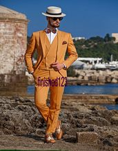 New Arrival Handsome One Button Orange Groom Tuxedos Groomsmen Men s Wedding Prom Suits Bridegroom Jacket