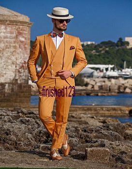 New Arrival Handsome One Button Orange Groom Tuxedos Groomsmen Men's Wedding Prom Suits Bridegroom (Jacket+Pants+Vest+Tie) K:821
